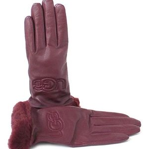 UGG Genuine Leather Shearling Trim Tech Gloves